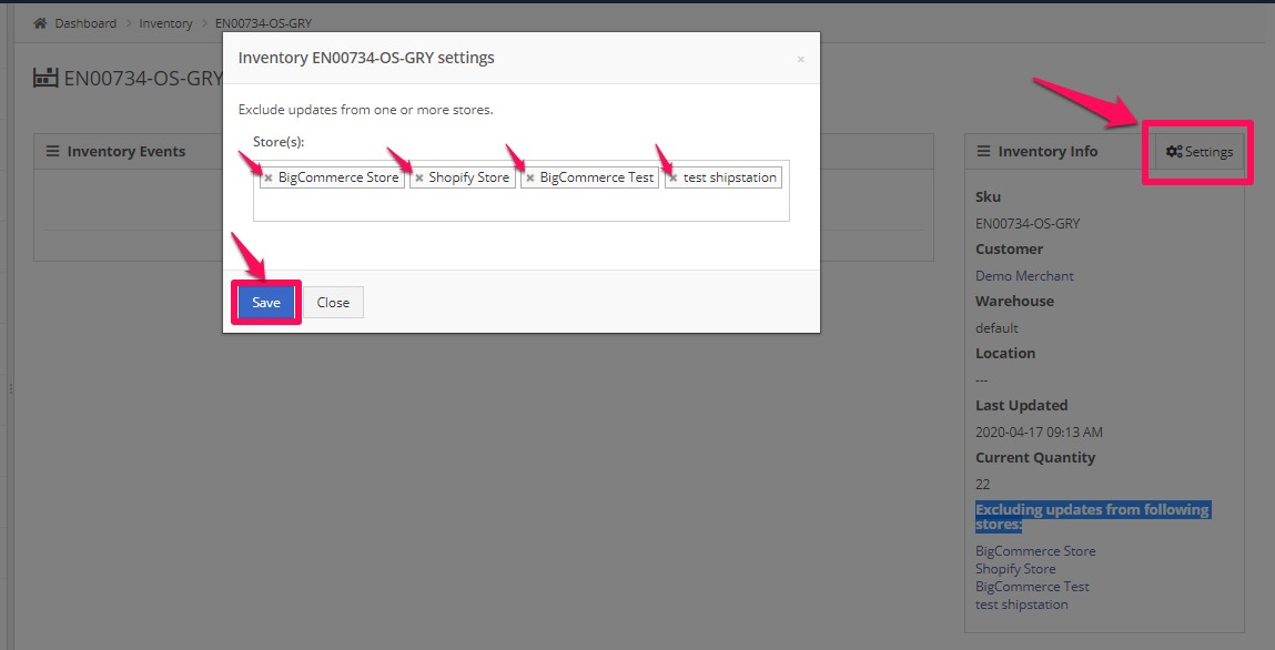 To make changes to the blocked Stores, click Settings, then edit the store names in the dialog box. Click Save, Close.
