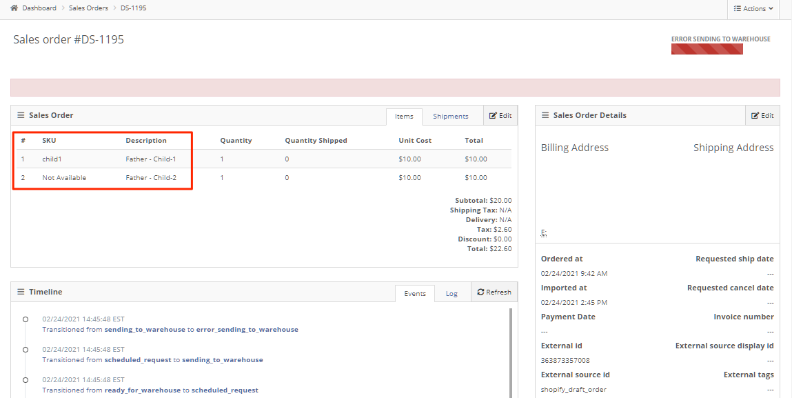 The result is an error when PackageBee sends the order for fulfillment, because of the Not Available SKU in Child-2