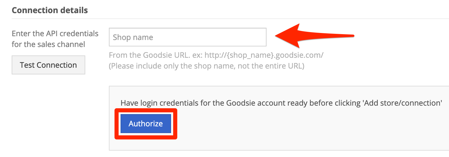Goodsie connection details
