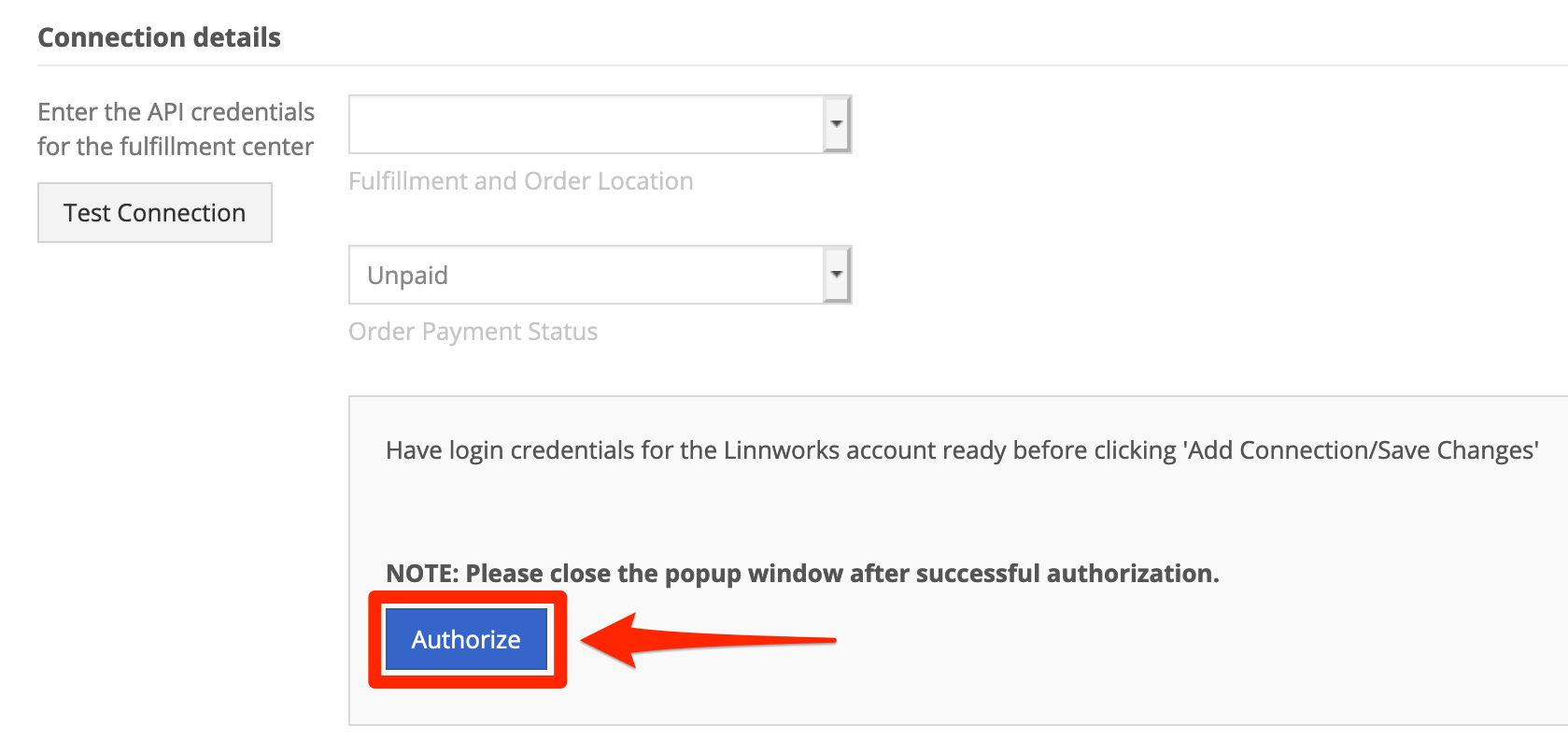 In Connection Details, click Authorize
