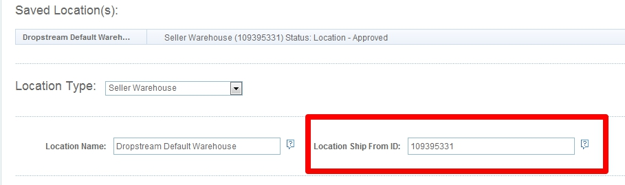 Sears Location Ship From ID
