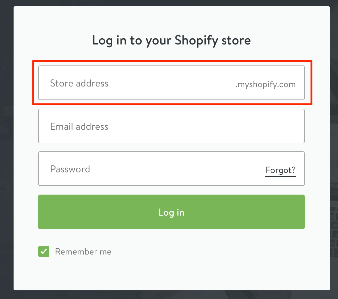 Shopify store address