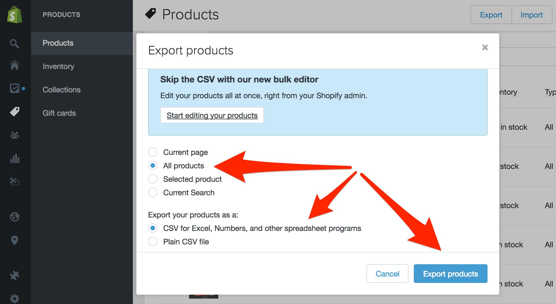 Click Export Products.