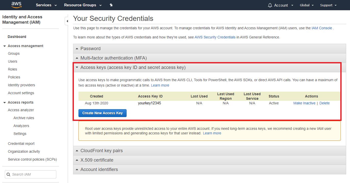 AWS - Create access keys