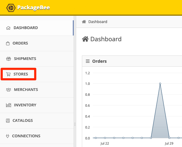In your PackageBee Dashboard, click Stores.