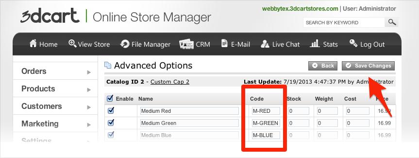Select product options, enter SKU.