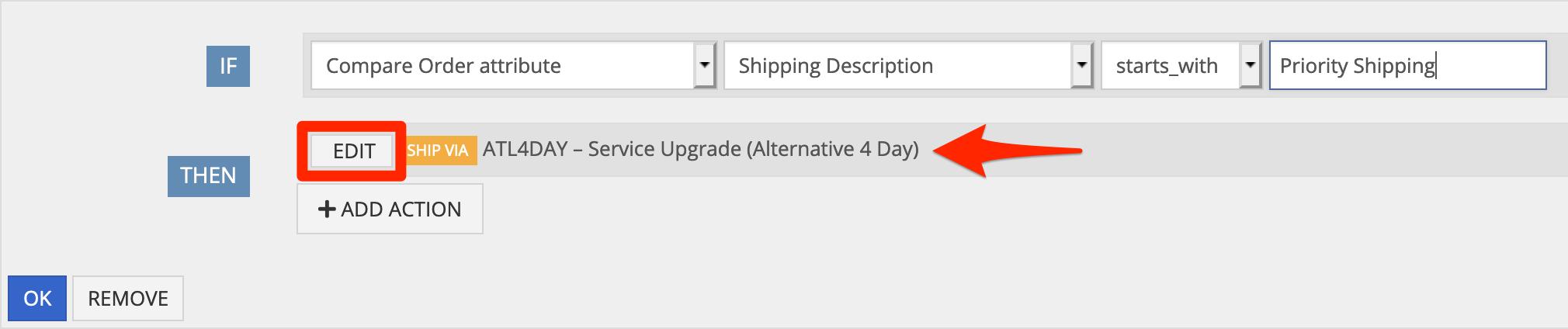 Set the Ship Via method, and click OK.