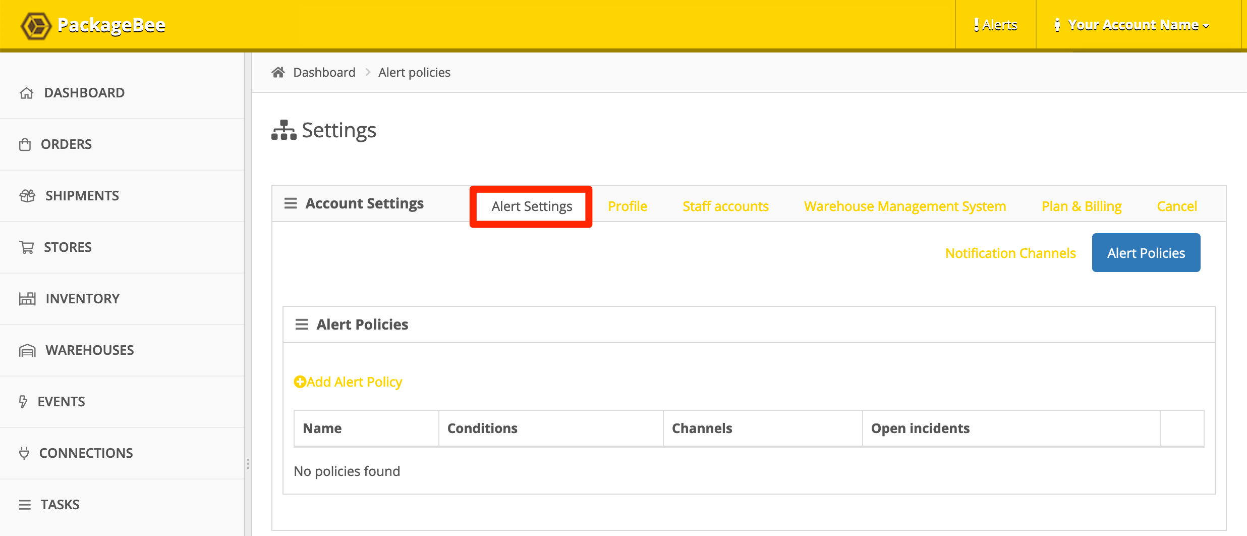 PackageBee Alert Settings