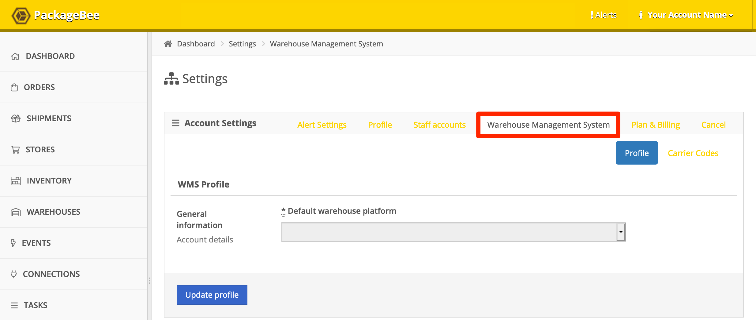 PackageBee Account WMS settings