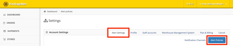 Click the Alert Settings tab, then click Alert Policies.