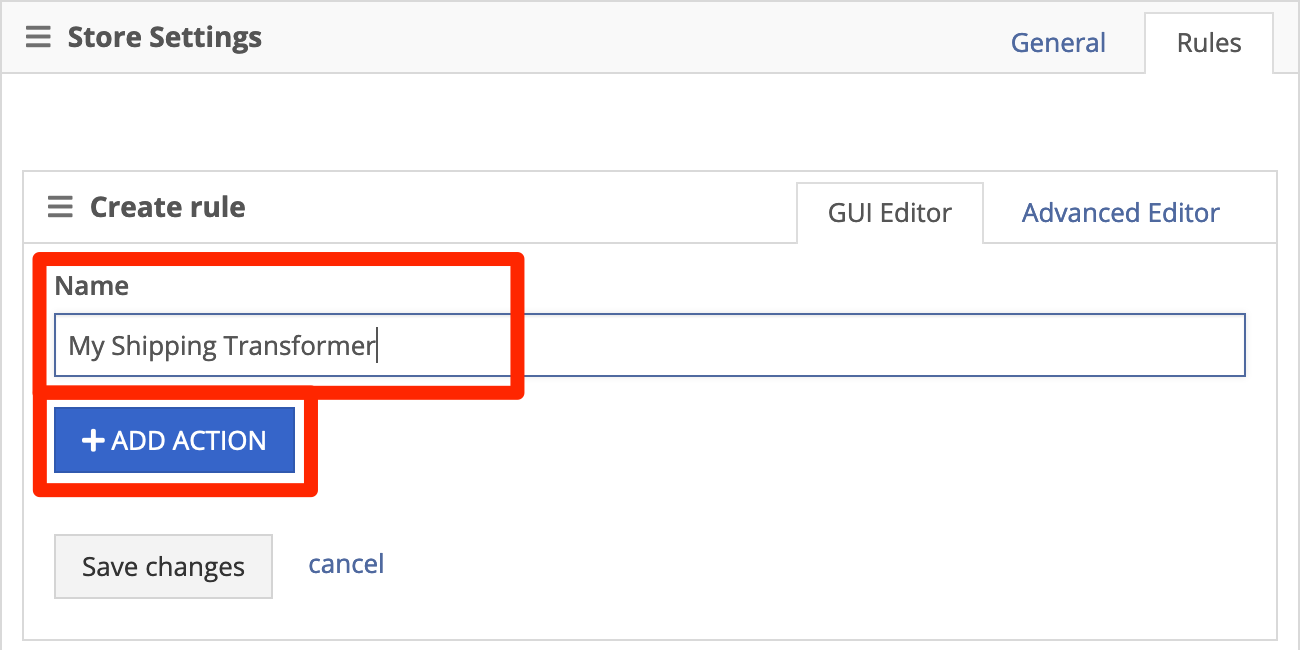Give the rule a name, then click +Add Action.