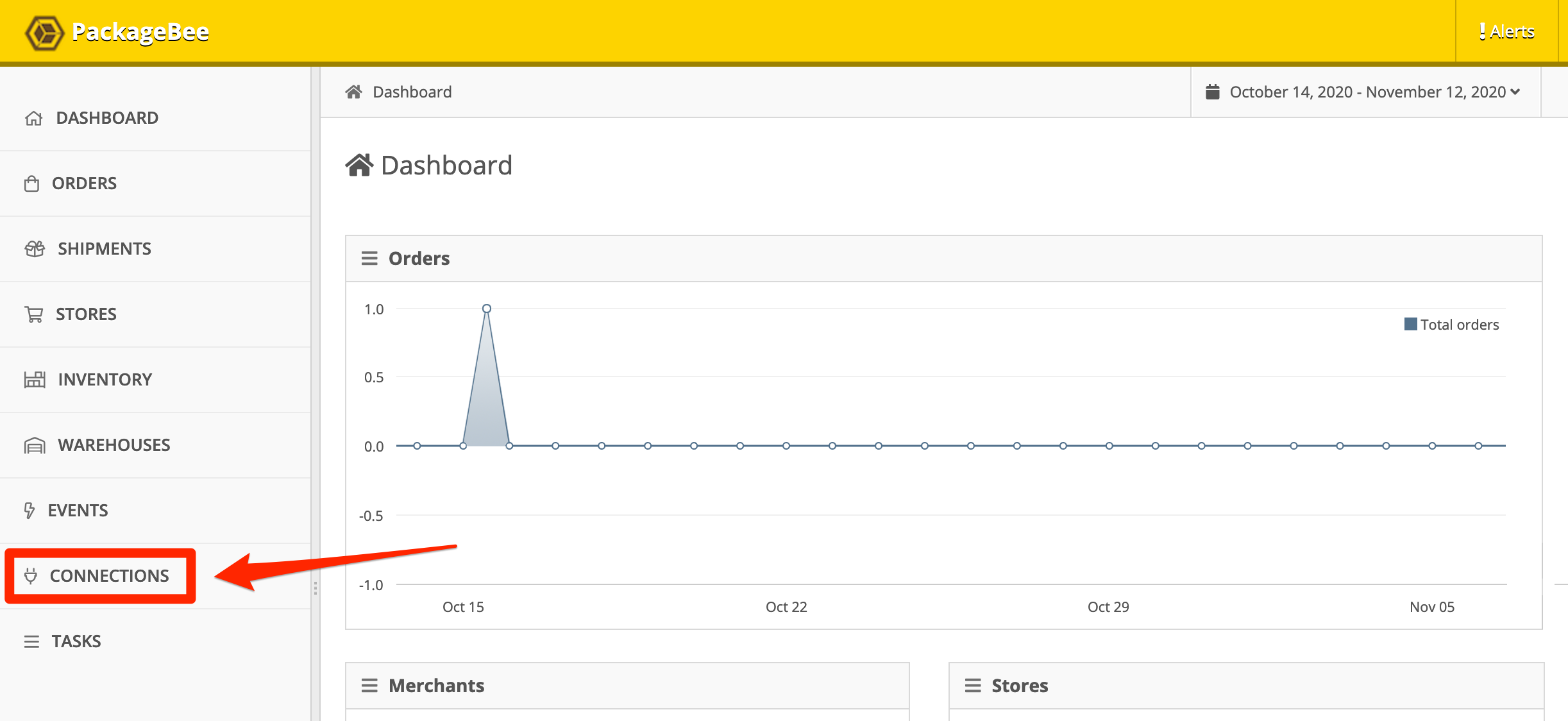 PackageBee Dashboard, Connections.