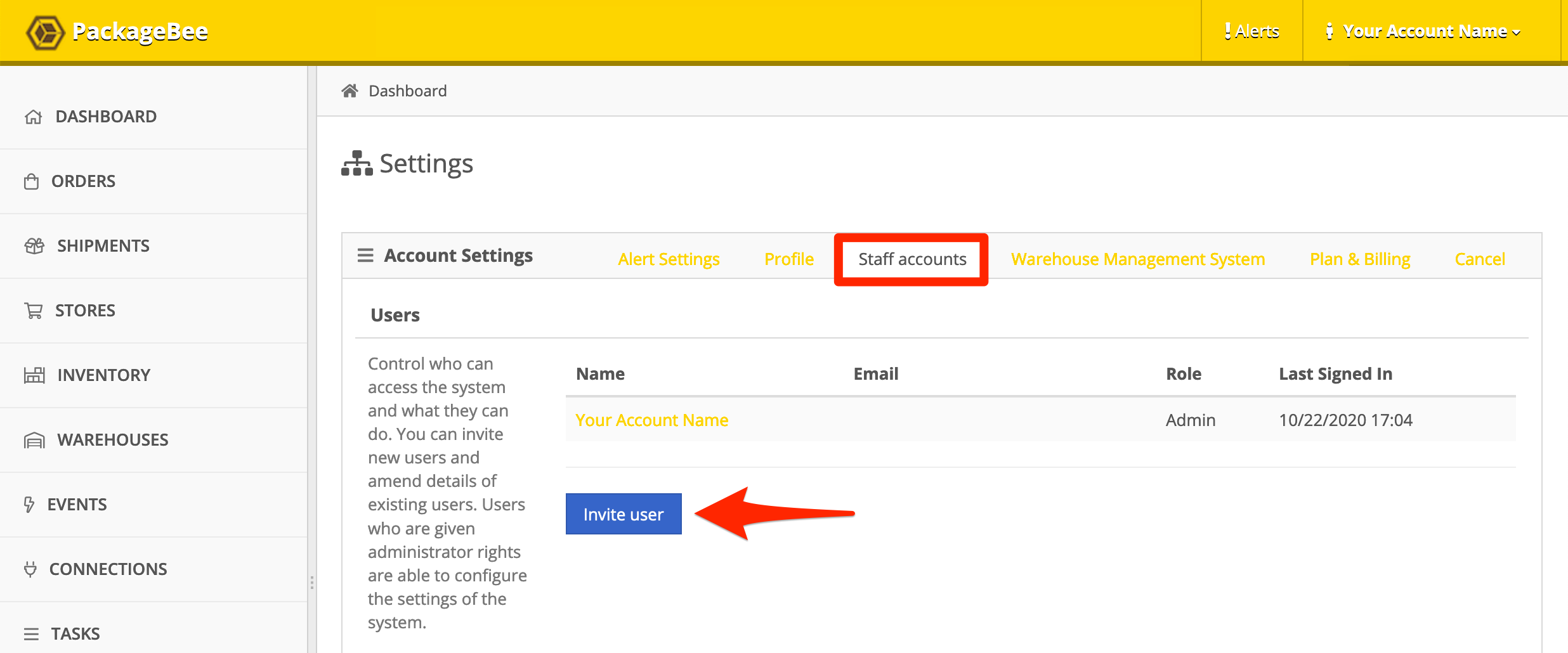 PackageBee Staff Account settings