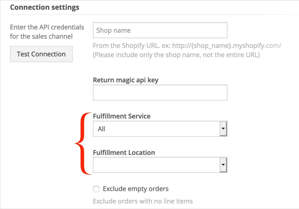 Shopify Fulfillment Service and Location