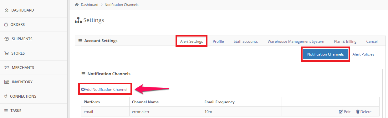 Alert Settings tab, Notification Channels, +Add Notification Channel.