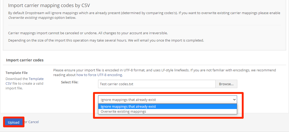 In the drop-down menu, choose Ignore existing mappings (which is the default) or Overwrite with new values. Then, click Upload.