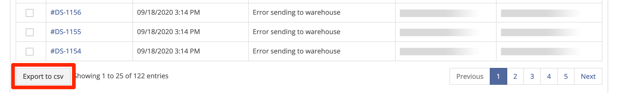 Export orders as CSV