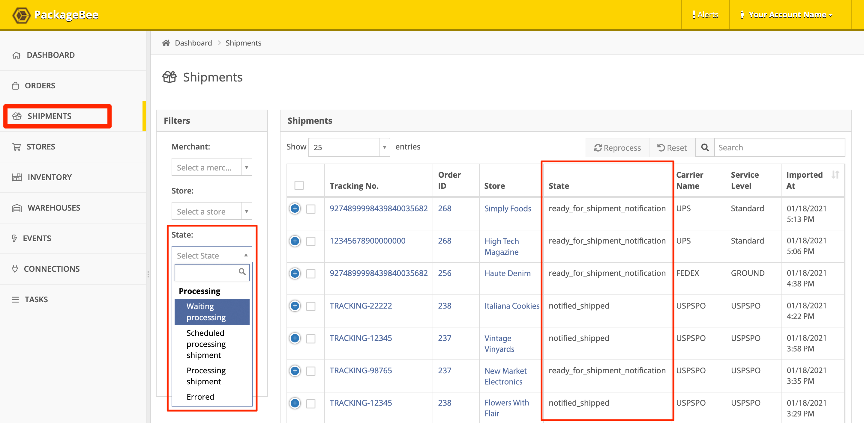 In PackageBee Shipments view, search or sort Shipments by status