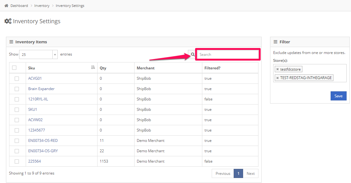 In the Inventory Settings, search for the item whose data you want to filter out from export to store.