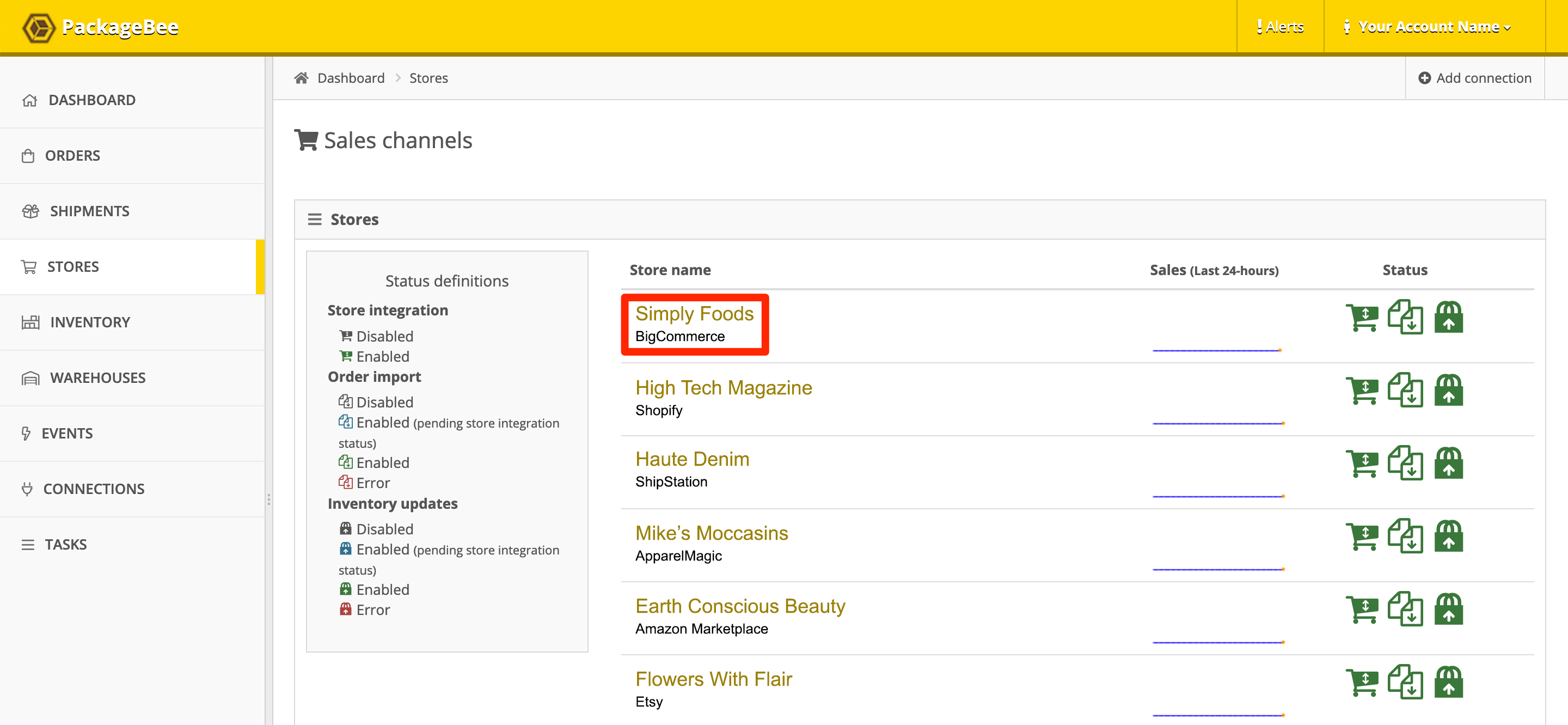 In PackageBee > Stores, click a store name to edit.